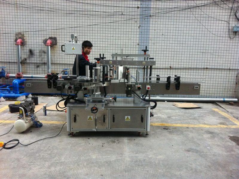 China Mașină completă de etichetare a sticlelor rotunde adezive automate pentru sticle pentru animale de companie din față și din spate